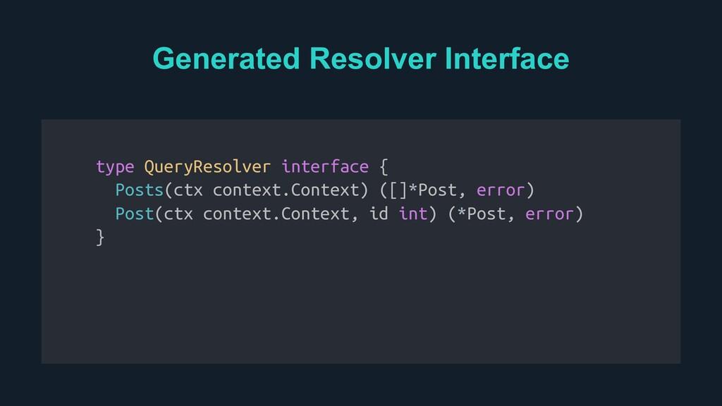Generated Resolver Interface Resolver Interface...