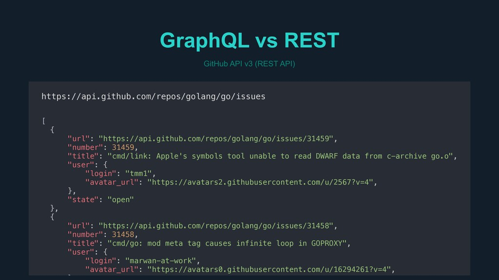 GitHub API v3 (REST API) GraphQL vs REST https:...