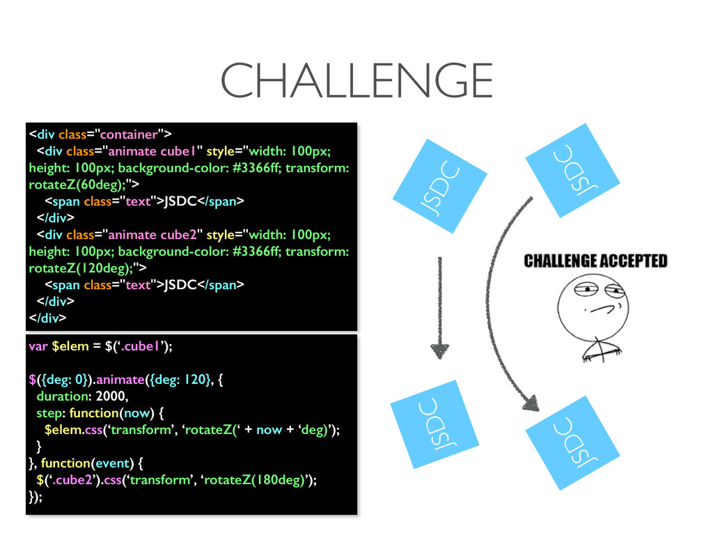 """CHALLENGE <div class=""""container""""> <div class=""""a..."""