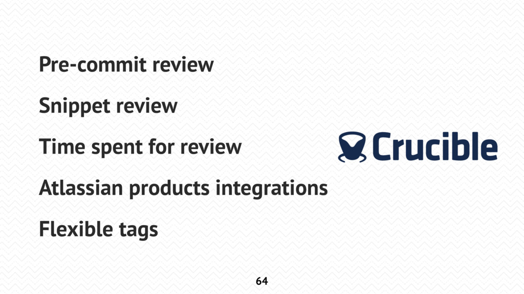 64 Pre-commit review Snippet review Time spent ...