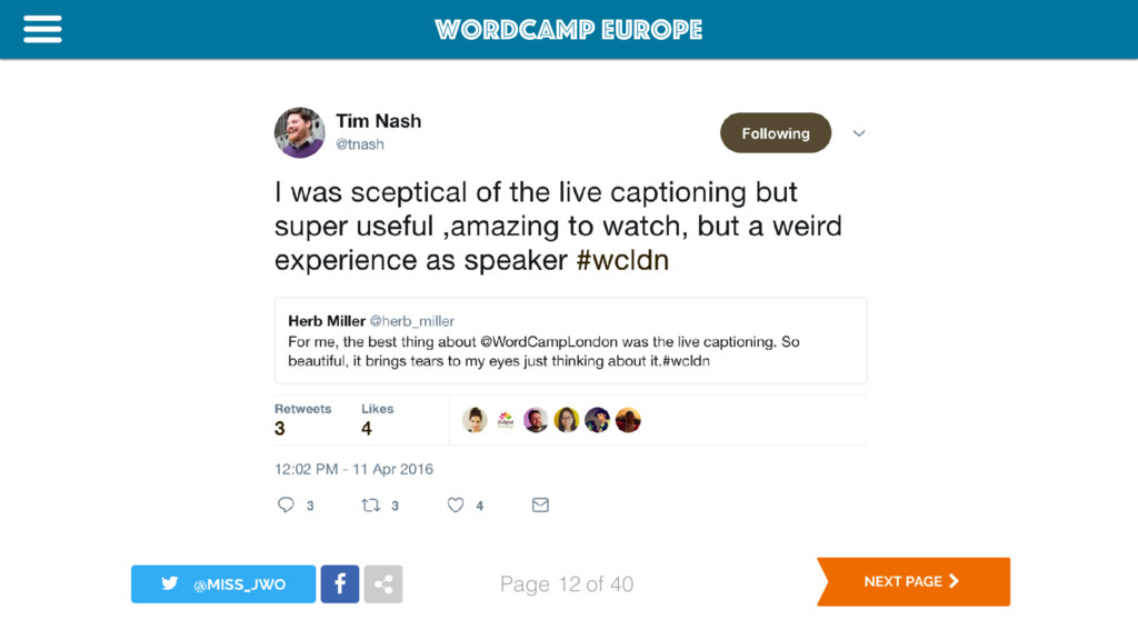 WordCamp Europe Page of 40 12