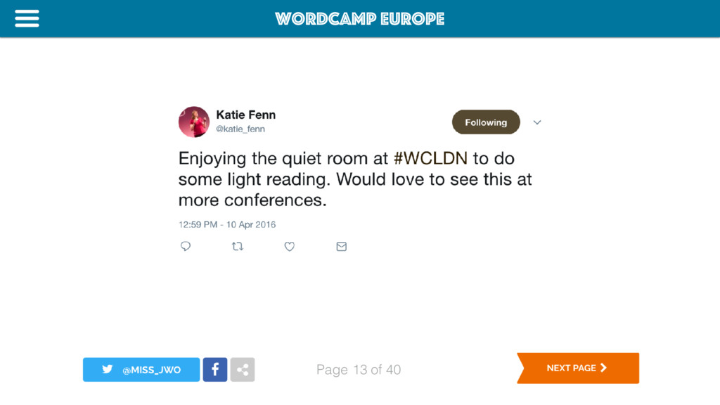 WordCamp Europe Page of 40 13