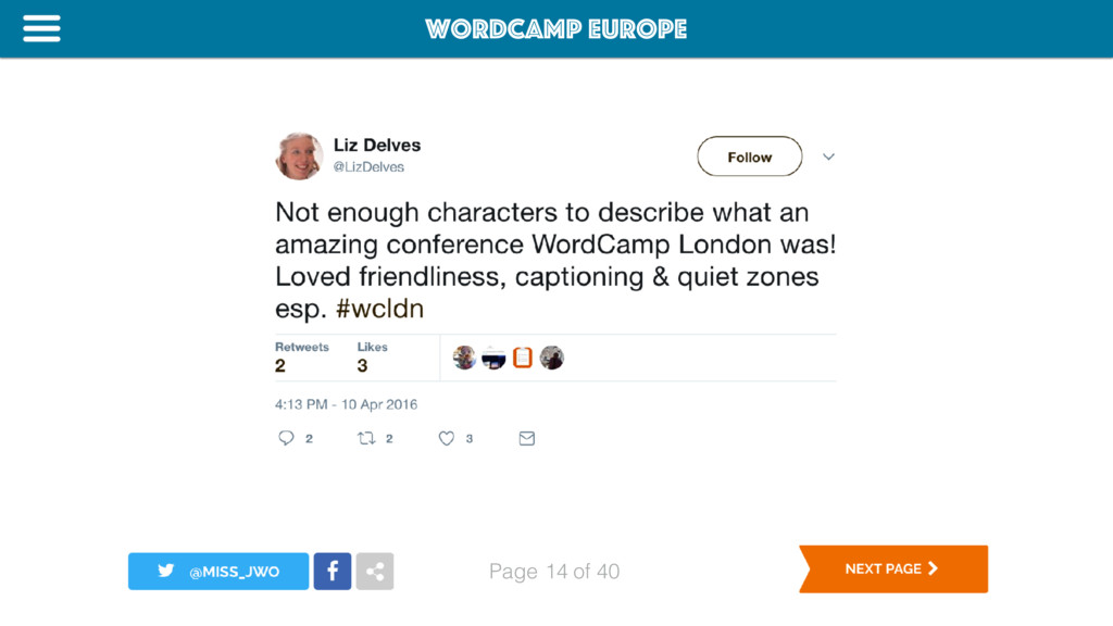 WordCamp Europe Page of 40 14