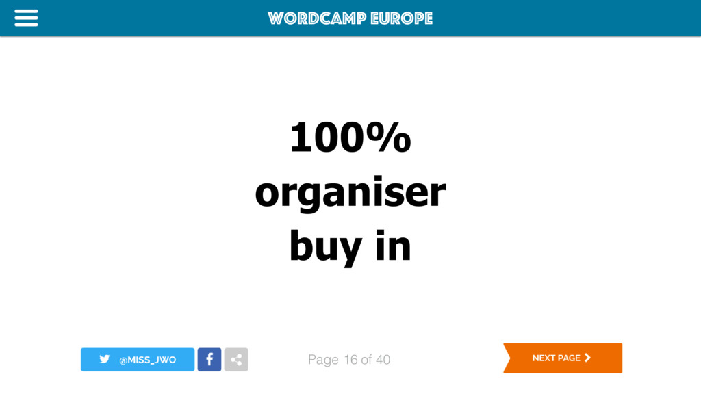 WordCamp Europe Page of 40 100% organiser buy i...