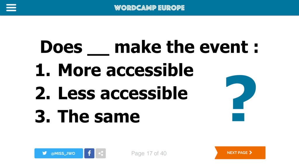 WordCamp Europe Page of 40 Does __ make the eve...