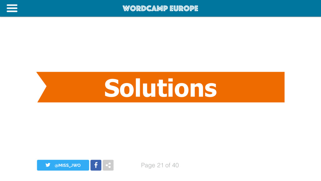 WordCamp Europe Page of 40 Solutions 21