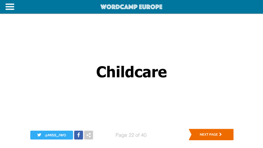 WordCamp Europe Page of 40 Childcare 22