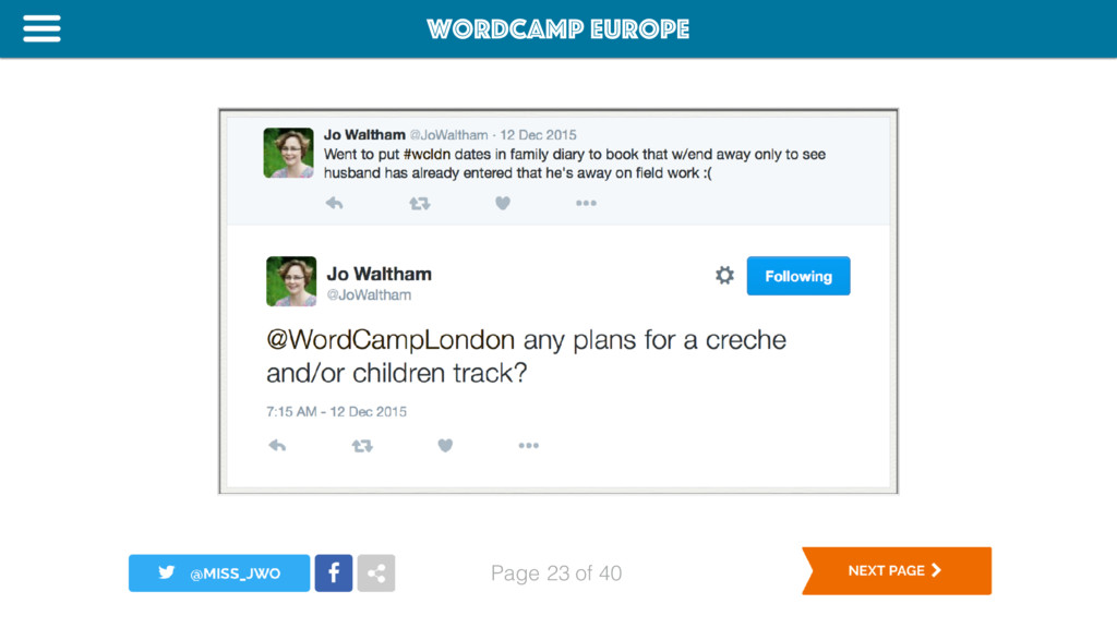 WordCamp Europe Page of 40 Childcare 23