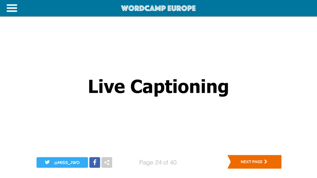 WordCamp Europe Page of 40 Live Captioning 24