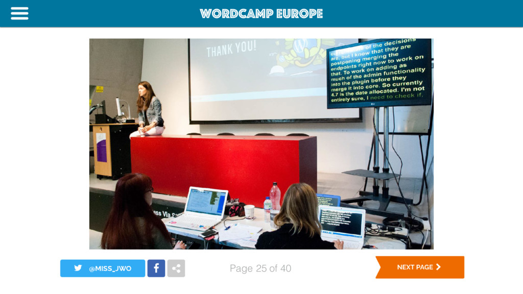 WordCamp Europe Page of 40 25