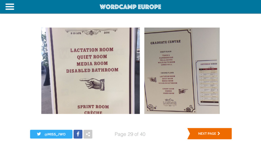 WordCamp Europe Page of 40 29