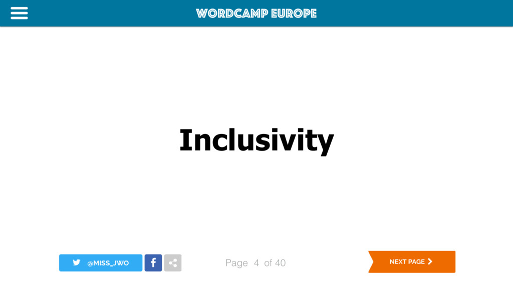 WordCamp Europe Page of 40 Inclusivity 4