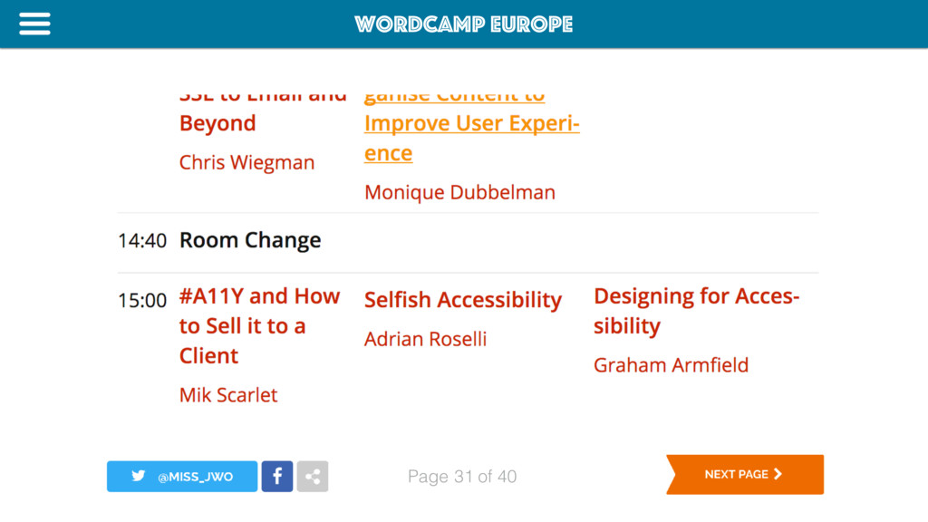WordCamp Europe Page of 40 31