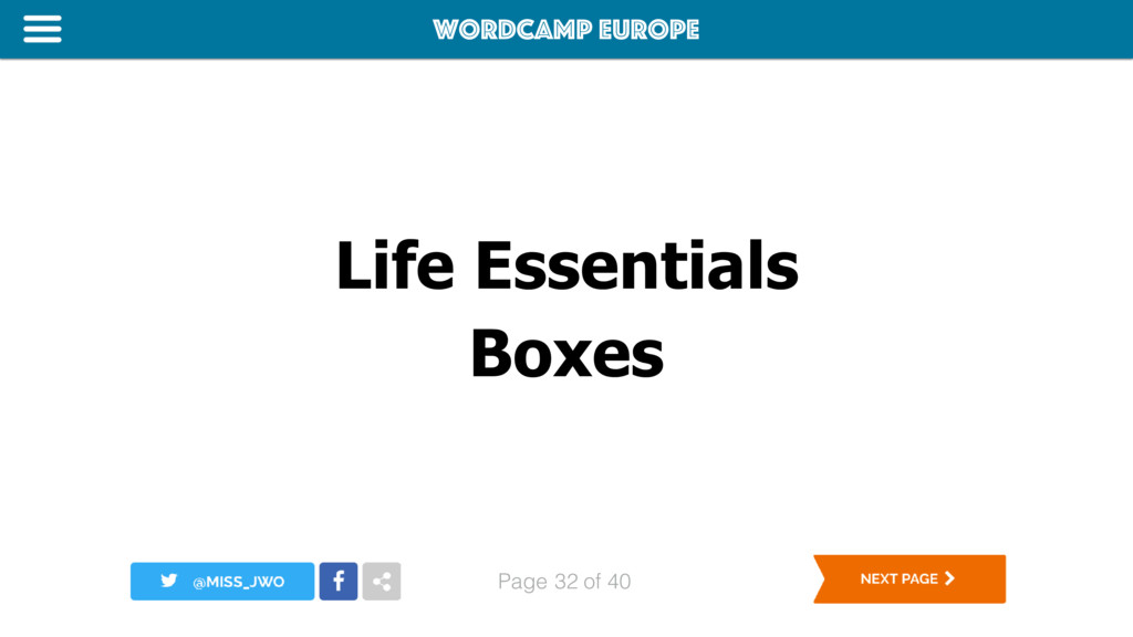 WordCamp Europe Page of 40 Life Essentials Boxe...