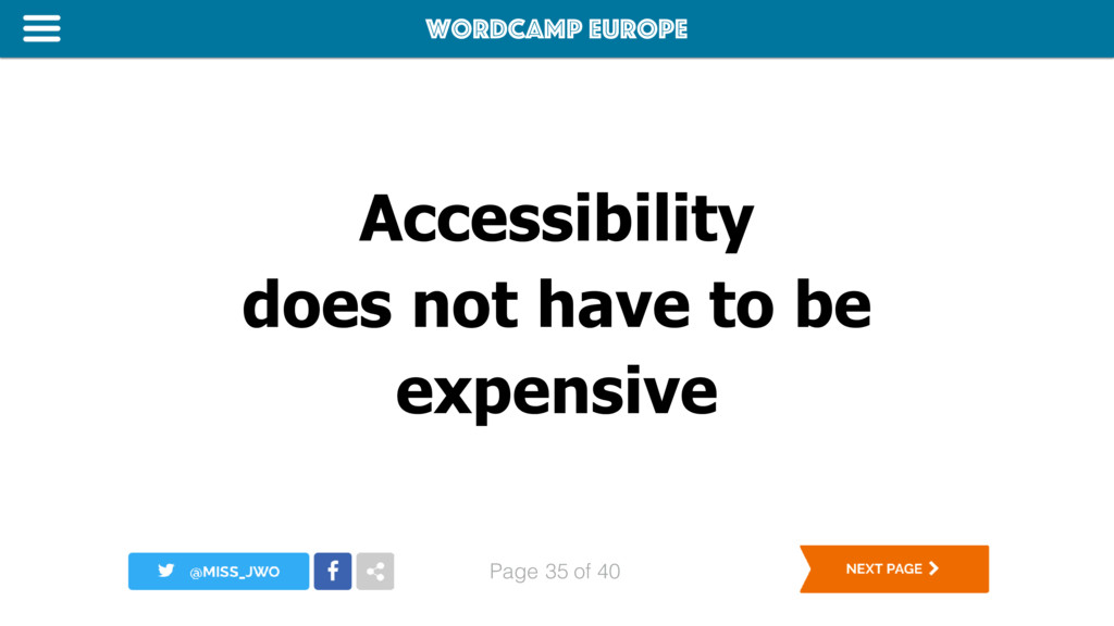 WordCamp Europe Page of 40 Accessibility does n...