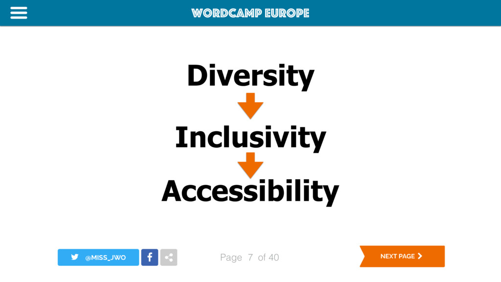 WordCamp Europe Page of 40 Diversity 7 Inclusiv...