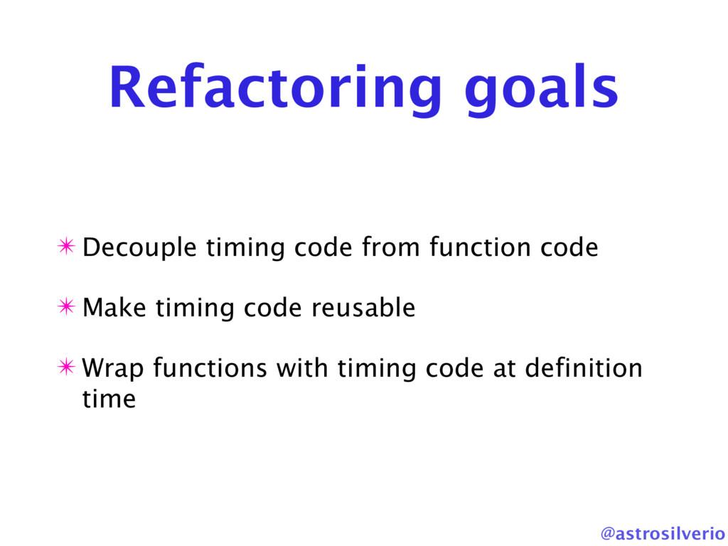 @astrosilverio Refactoring goals ✴ Decouple tim...