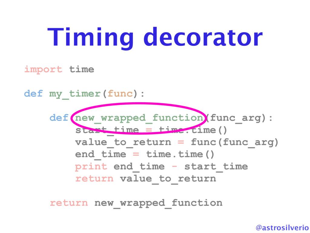 @astrosilverio Timing decorator import time def...