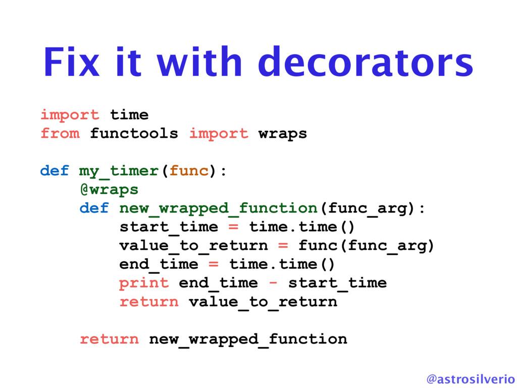 @astrosilverio Fix it with decorators import ti...
