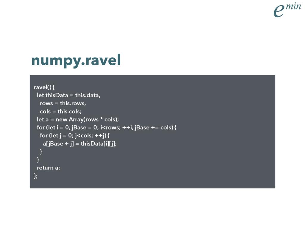 numpy.ravel ravel() { let thisData = this.data,...