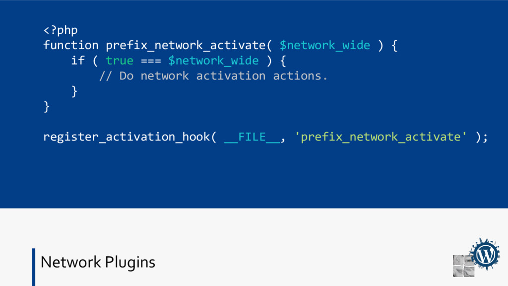 Network Plugins <?php function prefix_network_a...