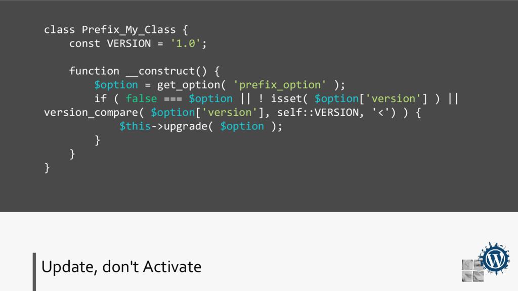 Update, don't Activate class Prefix_My_Class { ...
