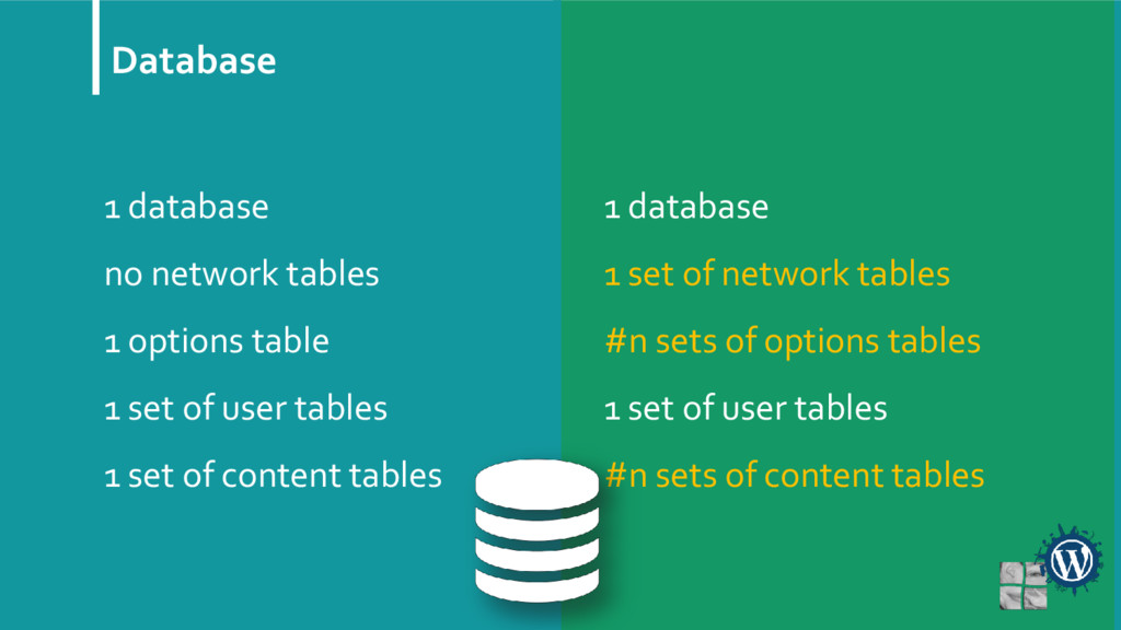 Database 1 database no network tables 1 options...