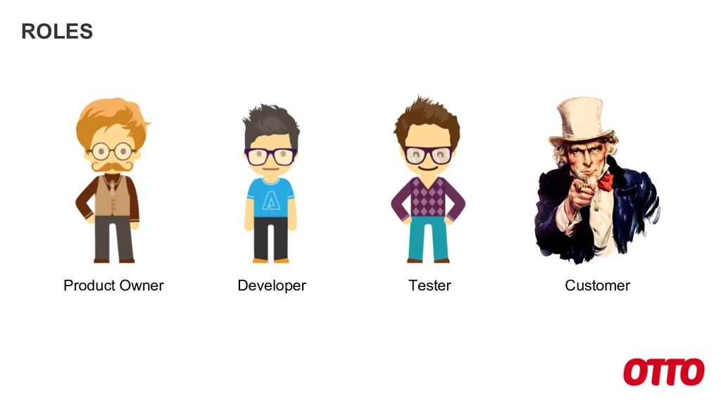 ROLES Product Owner Developer Tester Customer