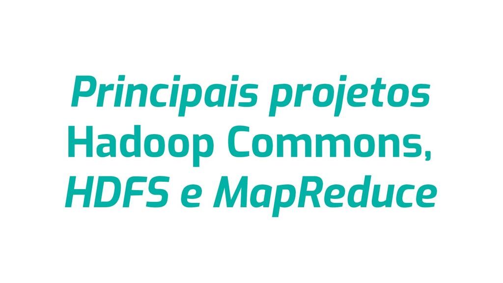Principais projetos Hadoop Commons, HDFS e MapR...
