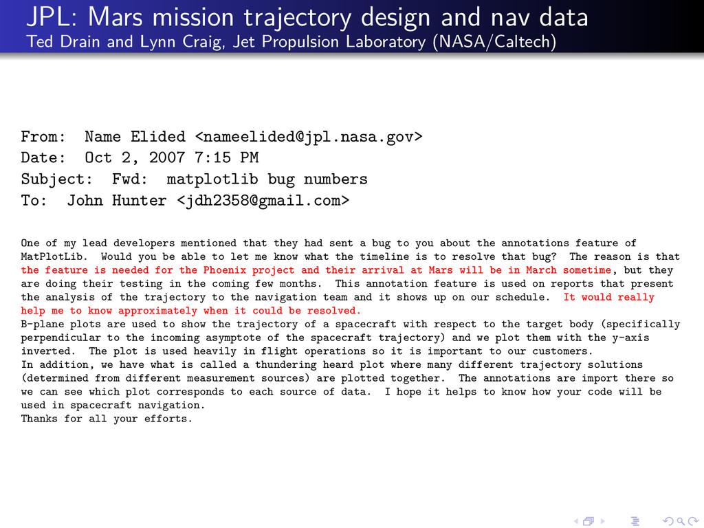 JPL: Mars mission trajectory design and nav dat...