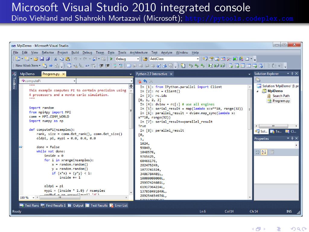 Microsoft Visual Studio 2010 integrated console...