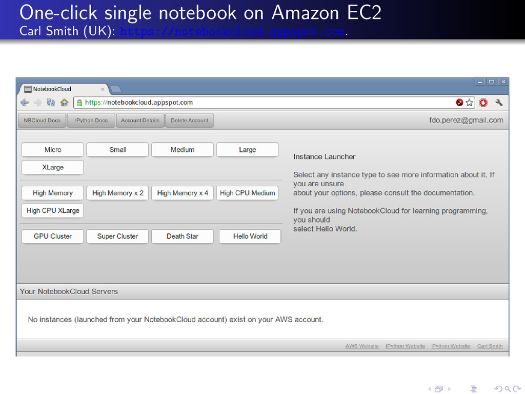 One-click single notebook on Amazon EC2 Carl Sm...