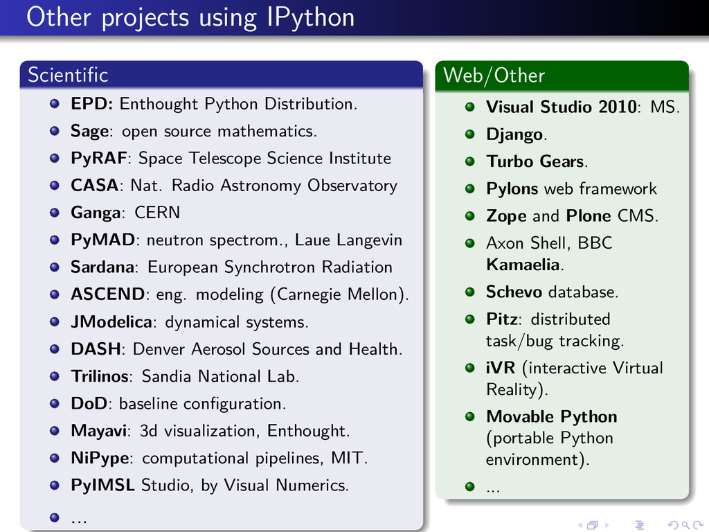 Other projects using IPython Scientific EPD: Ent...