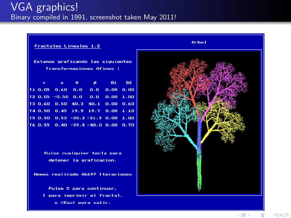 VGA graphics! Binary compiled in 1991, screensh...