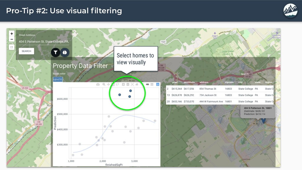 Pro-Tip #2: Use visual filtering Select homes to...