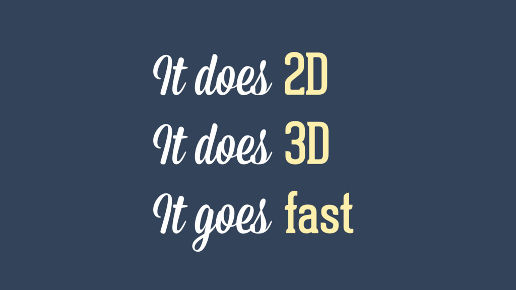It does 2D It does 3D It goes fast