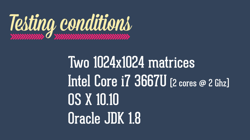 Testing conditions Two 1024x1024 matrices Intel...