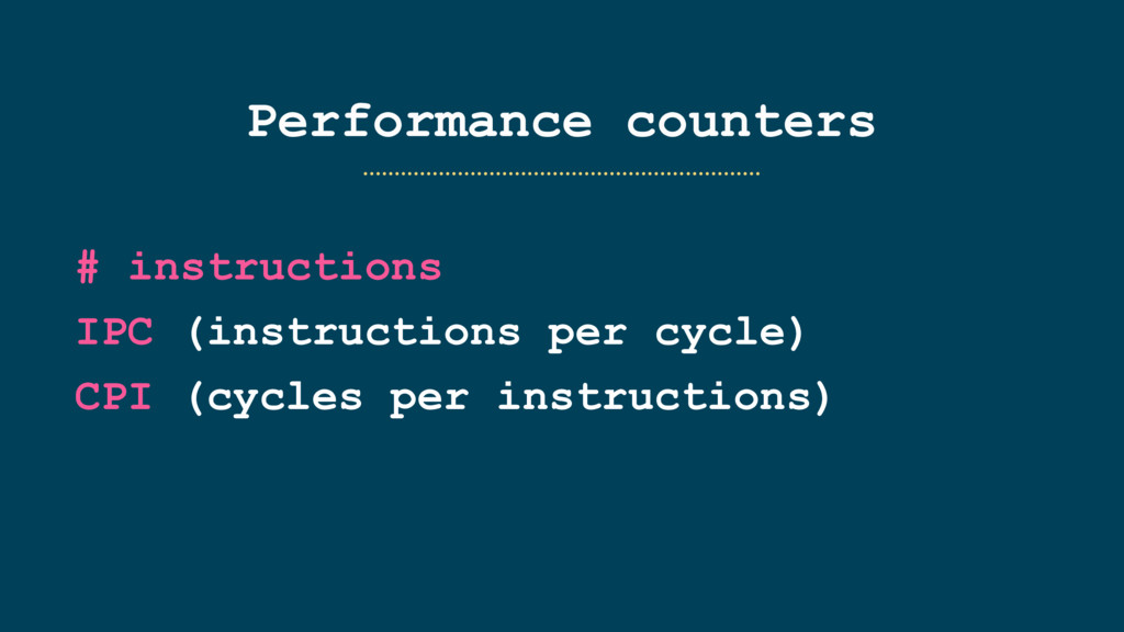 Performance counters # instructions IPC (instru...