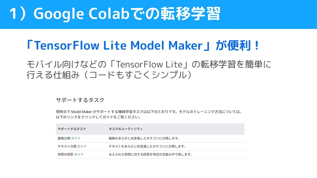 「TensorFlow Lite Model Maker」が便利! 1)Google Cola...