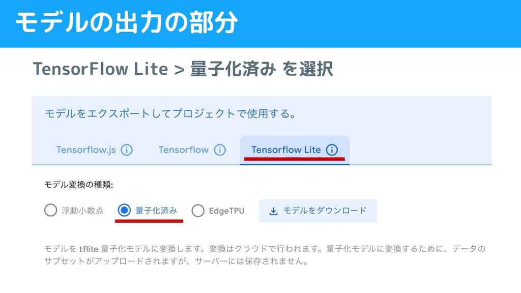 モデルの出力の部分 TensorFlow Lite > 量子化済み を選択