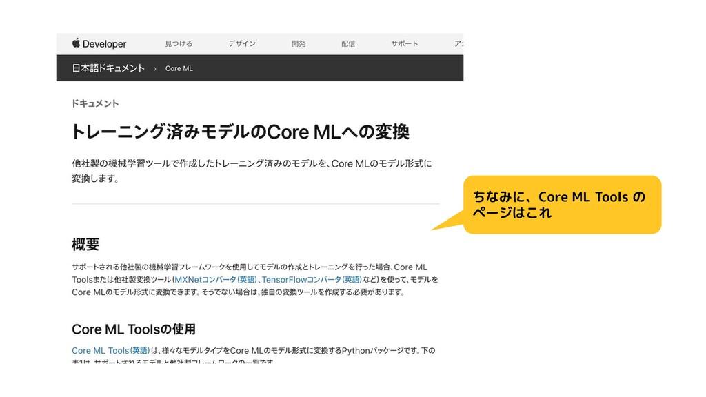 ちなみに、Core ML Tools の ページはこれ