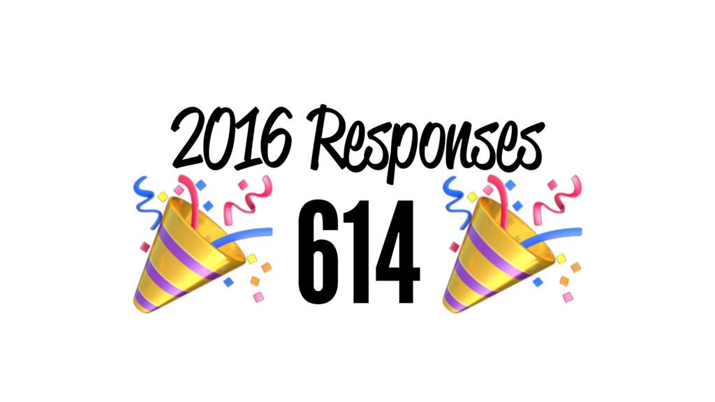 2016 Responses ! 614 !
