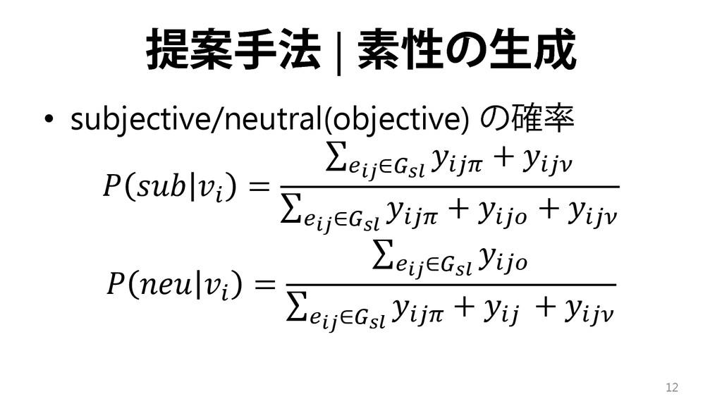 提案手法 | 素性の生成 • subjective/neutral(objective) の確...