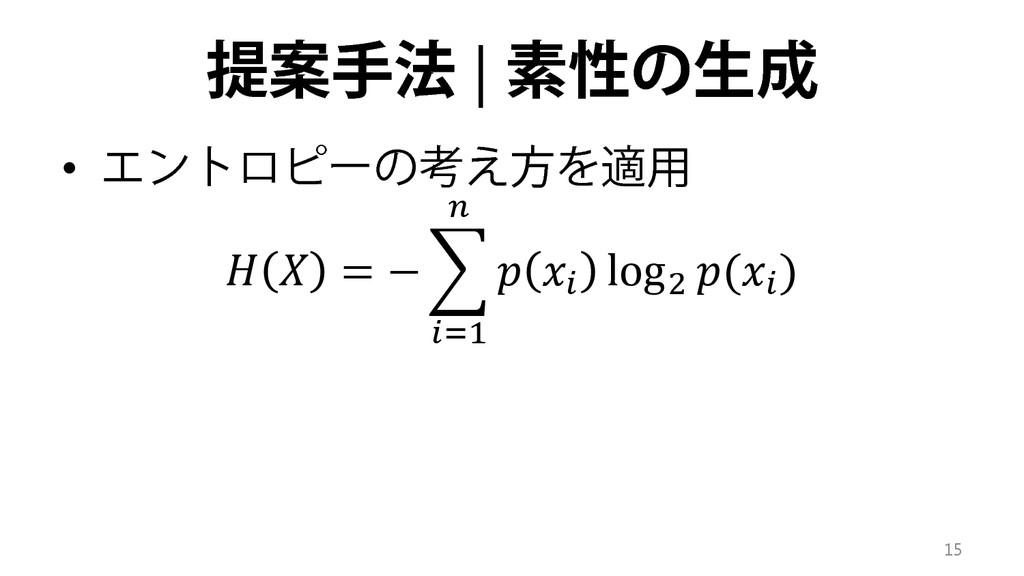 提案手法 | 素性の生成 • エントロピーの考え方を適用   = − �   log2 ( )...