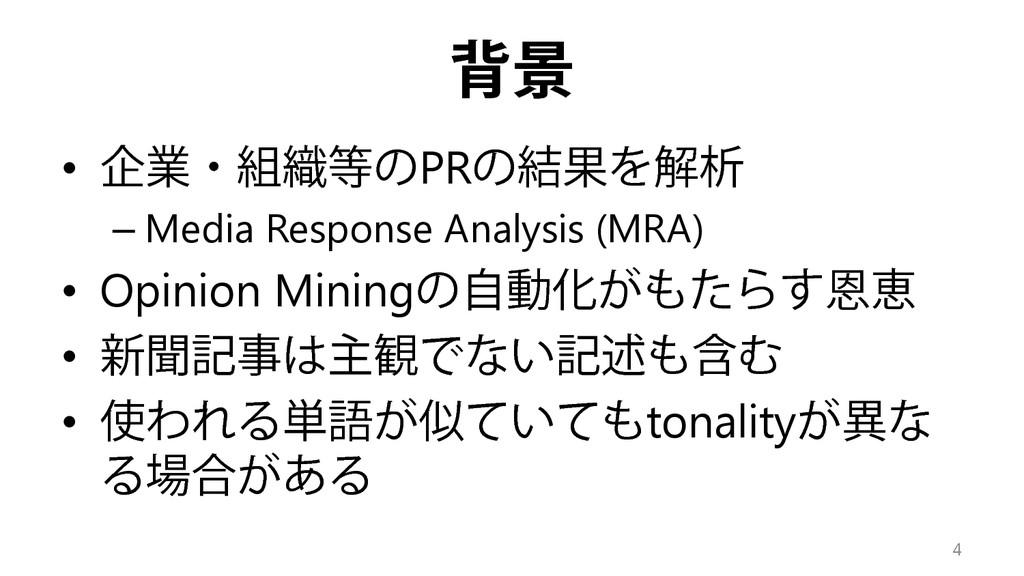 背景 • 企業・組織等のPRの結果を解析 – Media Response Analysis ...