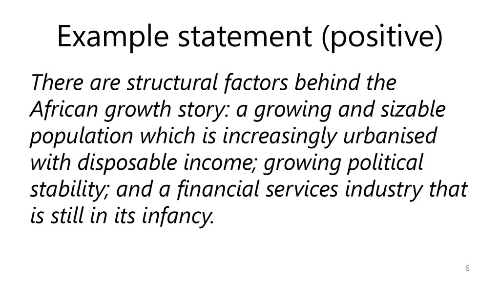 Example statement (positive) There are structur...