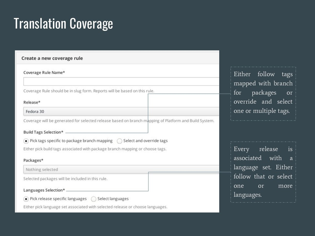 Translation Coverage Either follow tags mapped ...
