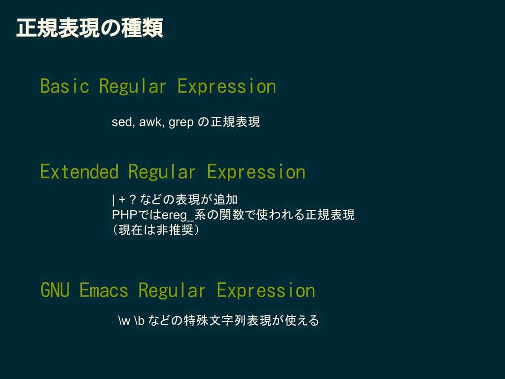 Basic Regular Expression 正規表現の種類 Extended Regul...