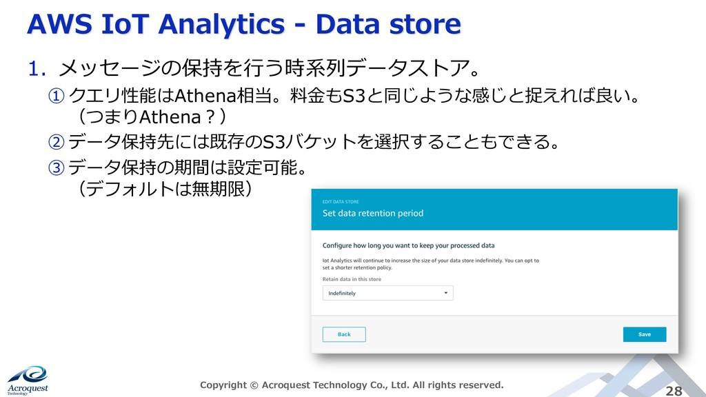 AWS IoT Analytics - Data store Copyright © Acro...
