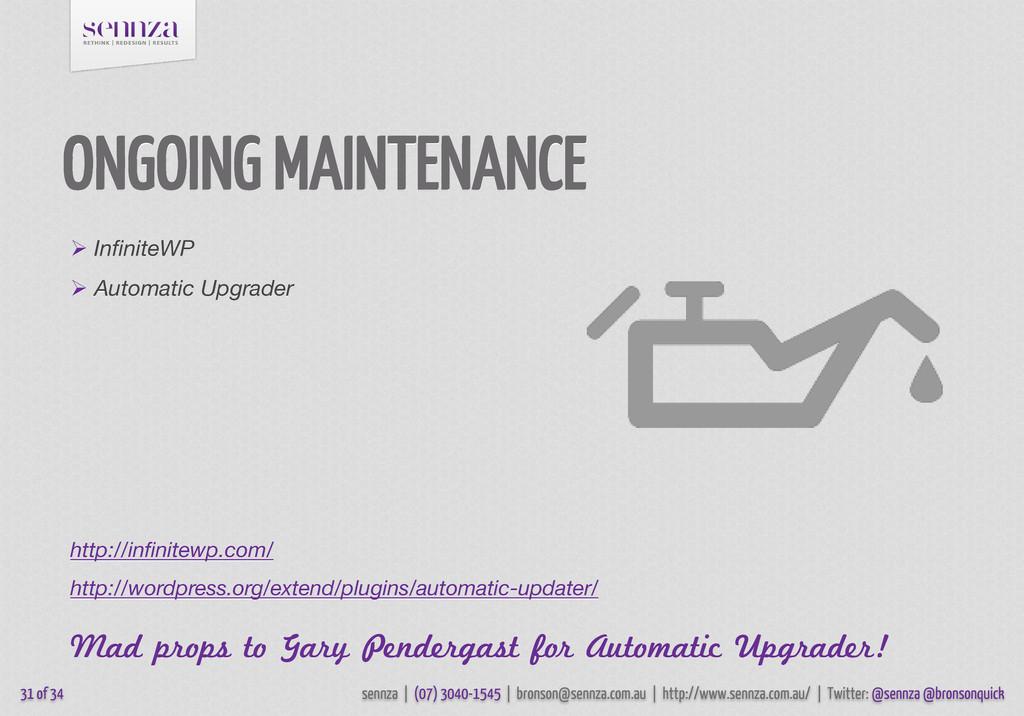 ONGOING MAINTENANCE  InfiniteWP  Automatic Up...